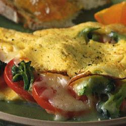 Broccoli, tomato & cheese omelette