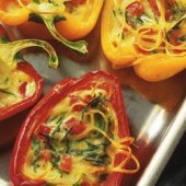 Cheese-baked,capsicums,with,linguine