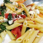 Penne,with,Tomatoes,,Cannellini,Beans,and,Feta