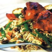 Soya,sauce-glazed,chicken,with,vegetable,rice