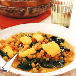 Spicy cod with chickpeas and spinach