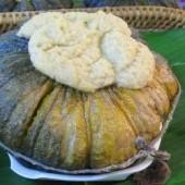 Coconut,custard,steamed,in,a,pumpkin