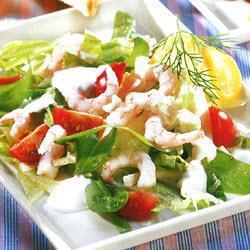 Crisp seafood salad with yoghurt dressing